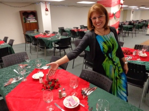 Our volunteer Vina shows off the table settings