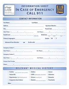emergency contact information sheet