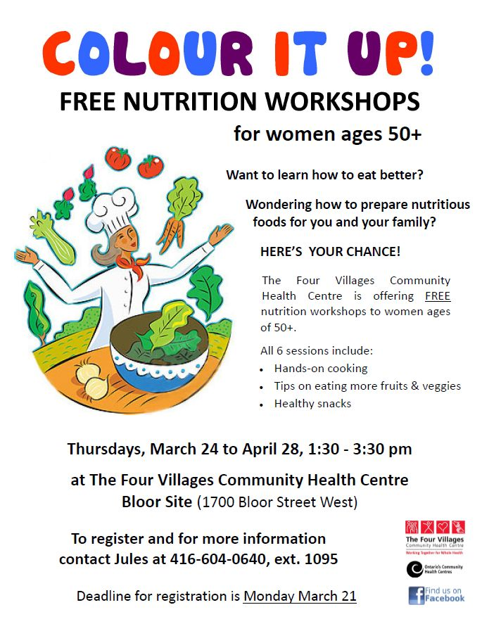 Colour it up! Free Nutrition Workshops for women ages 50+