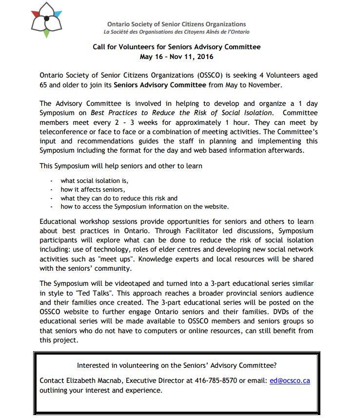 Ontario Society of Senior Citizens Organization