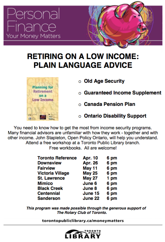 Planning for Retirement on a Low Income workshops